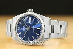 Rolex Mens Datejust 16014 Blue Dial 18k White Gold Bezel & Stainless Steel Watch