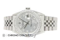 Rolex Mens Datejust 18K White Gold Diamond Bezel & Stainless Steel Watch