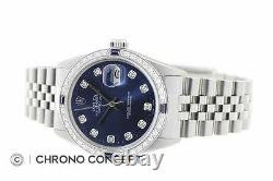 Rolex Mens Datejust Blue Diamond Sapphire 18K White Gold & Stainless Steel Watch
