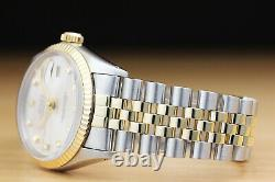 Rolex Mens Datejust Factory Diamond 18k Yellow Gold Stainless Steel Watch Silver