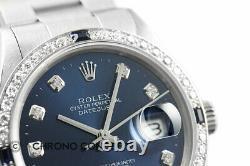 Rolex Mens Datejust Quickset 18K White Gold Diamond & Sapphire Watch