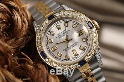 Rolex SS & Gold 26mm Datejust Watch Silver Dial with Sapphire & Diamond Bezel