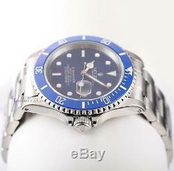 Rolex Submariner 16610 Date Stainless Steel 40mm-Custom Blue Ceramic-Blue Dial