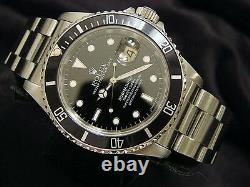Rolex Submariner Date Stainless Steel Watch Black Dial Bezel Mens Sub 16610