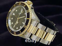 Rolex Submariner Mens 18k Yellow Gold Stainless Steel Watch Black Sub Date 16613