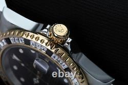 Rolex Submariner Two Tone 40mm Men's Watch with Custom Set Diamond Bezel 16613