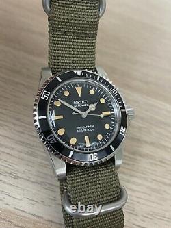 Seiko NH35 Vintage Submariner 5513 Mod Tropical Patina Custom Watch Domed Diver