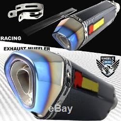 Slanted Burnt Tip Carbon Look Motorcycle 1.5-2 Performance Exhaust Muffler Kit