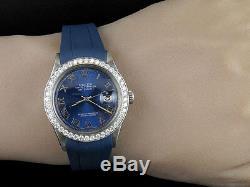 Sporty Custom Rolex Datejust Blue Dial Rubber Band 36MM Diamond Watch 2.5 Ct