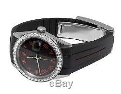 Sporty Custom Rolex Datejust Red/Black Rubber Band 36MM Diamond Watch 2.5 Ct