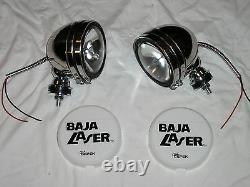 Stainless 5 Baja KC Style Off Road Lights 100W truck jeep White Covers 4X4 SS