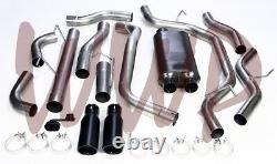 Stainless Steel Dual Cat Back Exhaust +Black Tips 14-20 Dodge Ram 2500 6.4L Hemi