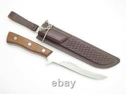 Vtg NOS Hattori Seki Japan Custom 10 Fixed Blade Hunting Knife Brown Sheath