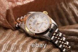 White Rolex Logo 26mm Datejust 18K Gold & SS Diamond Fluted Jubilee Ladies Watch