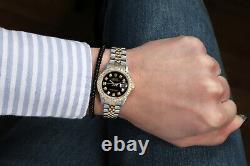 Women's Rolex 26mm Datejust Black Diamond Dial & Diamond Bezel 2 Tone Watch