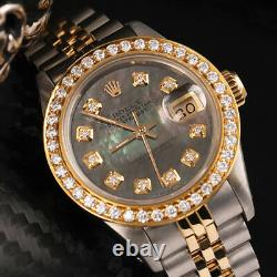 Women's Rolex 26mm Datejust Black Mother Of Pearl Dial 2 Tone Diamond Watch