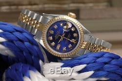Women's Rolex 26mm Datejust Blue Face Diamond Accent Jubilee two Tone Watch