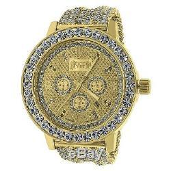 Yellow Gold Tone Men's Solitaire Bezel Real Genuine Diamonds Custom Band Watch